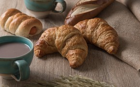 Picture food, Breakfast, cocoa, bun, croissants