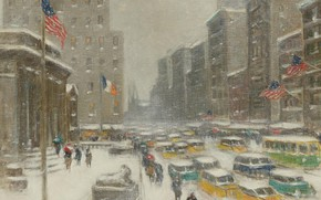Picture picture, the urban landscape, Guy Carleton Wiggins, 5th Avenue in Winter, Guy Wiggins