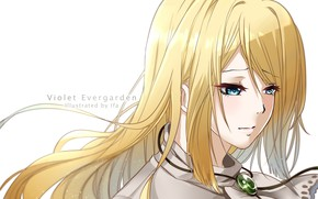 Picture girl, portrait, blonde, Violet Evergarden