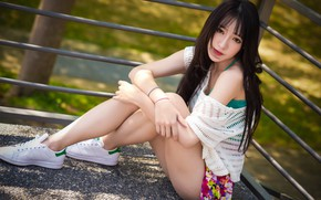 Picture summer, look, sitting, Oriental girl