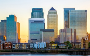 Picture the sun, river, dawn, England, London, building, home, tall