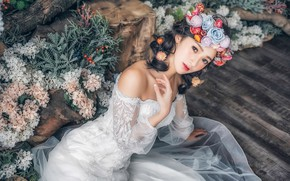 Wallpaper look, flowers, pose, style, model, Asian, the bride, wreath, wedding dress