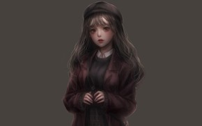 Picture girl, grey, background, anime, art