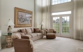 Wallpaper curtains, window, sofa, living room