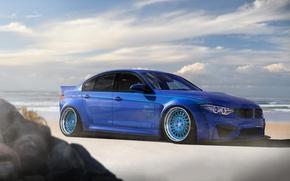 Wallpaper Stance, Blue, Car, Low, BMW