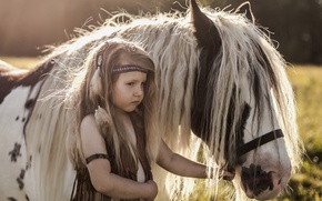 Picture background, girl, pony