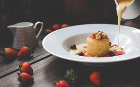 Picture strawberry, cake, dessert, cakes, sweet, biscuit, condensed milk