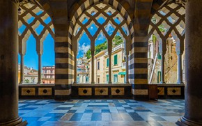Wallpaper columns, St Andrew's Cathedral, the sky, home, Cathedral, Italy, Amalfi