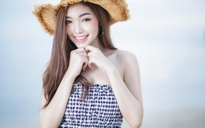 Picture girl, smile, background, mood, hat, hands, Asian