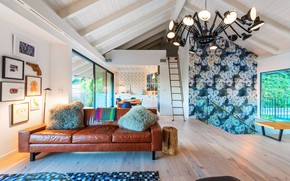 Picture interior, kitchen, living room, dining room, living space, House in Hollywood Hills