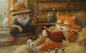 Wallpaper Tales of the cat Kuzma, Alexander Maskaev, art, children's, figure, summer, tale, cat