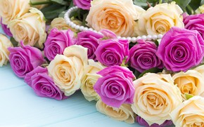 Wallpaper Bouquet, Flowers, Roses, Beads