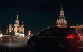 Picture volkswagen, art, red square, machine, night city, moskow