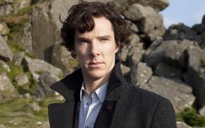 Wallpaper photo, male, coat, Benedict Cumberbatch, Benedict Cumberbatch, Sherlock