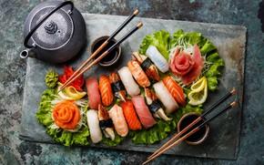 Picture tea, fish, sticks, figure, sauce, sashimi
