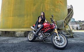 Wallpaper girl, motorcycle, Asian