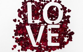 Picture the inscription, Red, Paper, Hearts, white background, love