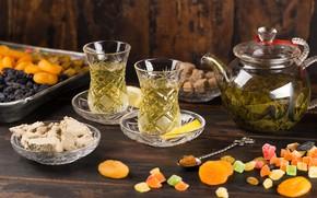 Picture lemon, tea, lemon, tea, cuts, dried fruits, assorted, dried fruits, halva, halva