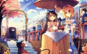 Picture Street, People, Umbrella, Anime, Girls