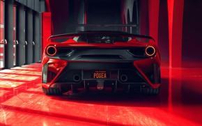 Picture lights, Ferrari, supercar, rear view, GTB, 2018, 488, Pogea Racing, FPlus Corsa