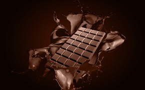 Wallpaper splash, chocolate bar, chocolate, squirt