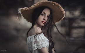 Picture look, girl, background, portrait, hat, makeup, dress, brunette, hairstyle, photoshoot, bokeh, Falak Ali
