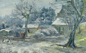 Picture winter, landscape, picture, Camille Pissarro, Farm Monticola. Snow