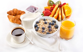 Picture Fruit, Milk, Muesli, Food, Croissant, Juice, Coffee