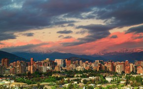 Picture clouds, trees, landscape, mountains, the city, home, panorama, Chile, Santiago