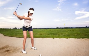 Picture golf, sand, ball, female