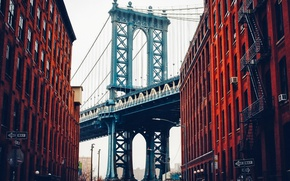 Wallpaper street, home, New York, USA, Brooklyn bridge, Manhattan