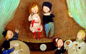 Picture children, cafe, applause, speech, Gapchinska
