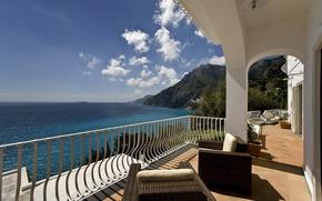 Picture sea, the city, Villa, Italy, terrace, Salerno, Positano