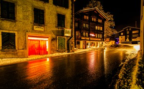 Picture winter, road, snow, night, lights, street, home, Switzerland, Goms, Münster