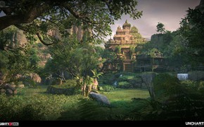Picture forest, mountains, temple, Uncharted The Lost Legacy, Intro to Western Ghats