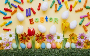 Picture grass, flowers, chamomile, spring, colorful, Easter, tulips, chrysanthemum, flowers, tulips, spring, Easter, eggs, decoration, Happy, …