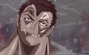 Picture One Piece, pirate, fight, fang, evil, powerful, strong, mochi, Katakuri, by amanomoon, Katakura Vs Luffy