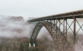 Picture landscape, bridge, fog