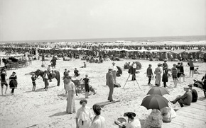 Picture sea, beach, retro, people, stay, FL, USA, output