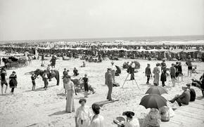 Wallpaper USA, output, sea, people, beach, FL, stay, retro