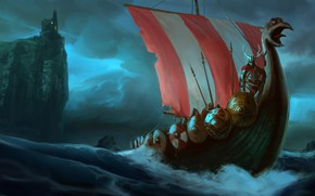 Picture waves, fantasy, tower, horns, sea, fortress, castle, weapons, ship, digital art, artwork, warrior, fantasy art, …