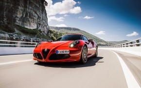 Picture car, Alfa Romeo, red, road, mountains, speed, Alfa Romeo 8C, Alfa 8C