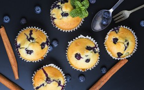 Picture blueberries, cinnamon, mint, cakes, cupcakes