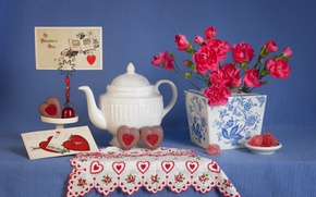 Picture clove, Valentine's Day, heart, still life, Valentine's day, candy, 14 Feb, postcard, style, kettle