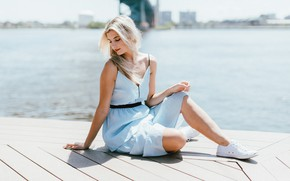 Picture girl, dress, sneakers, blonde