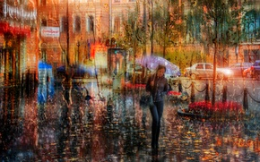 Picture girl, rain, umbrella, Saint Petersburg
