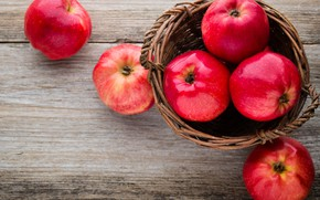 Picture basket, apples, red