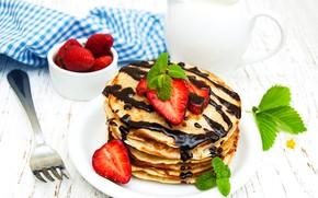 Picture chocolate, strawberry, plug, pancakes, mint, chocolate, strawberry, pancake
