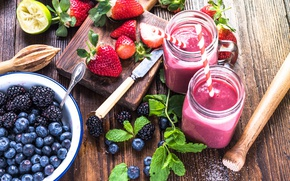 Wallpaper mint, strawberry, BlackBerry, tube, berries, smoothies, drink, blueberries