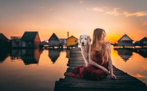 Picture girl, sunset, bridge, dog